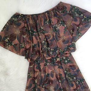 Vintage 70s Boho Floral Midi Dress Union Tag